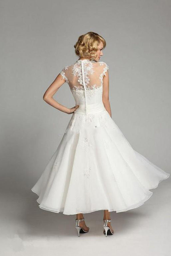 Ivory Beaded Organza Vintage High Neck Lace Tea Length Cap Sleeve Wedding Dress, SW164 at simidress.com