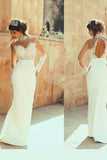 Gorgeous Lace High Neckline Sheath Wedding Dresses With Beaded Appliques, SW165