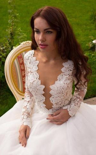 Ivory Long Sleeves Ball Gown Princess A-Line V-Neck Tulle Wedding Dresses, SW167 sold by www.simidress.com