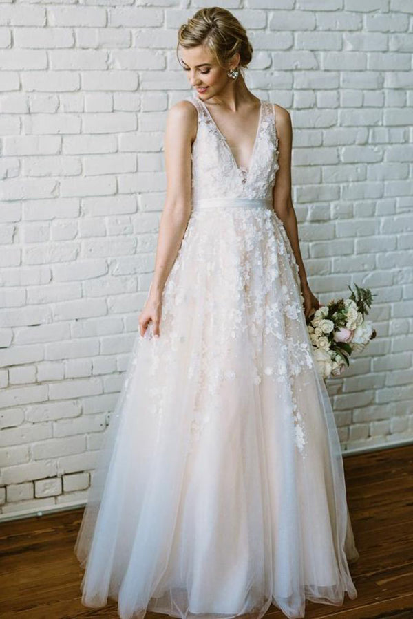Ivory Lace Long Wedding Dresses V Neck Beach Wedding Dress with Appliques, SW168