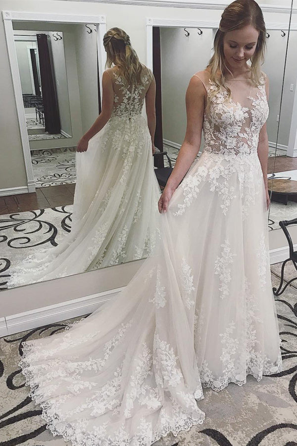 Ivory Lace See Through Applique Wedding Dresses Bridal Dress with Court Train, SW169