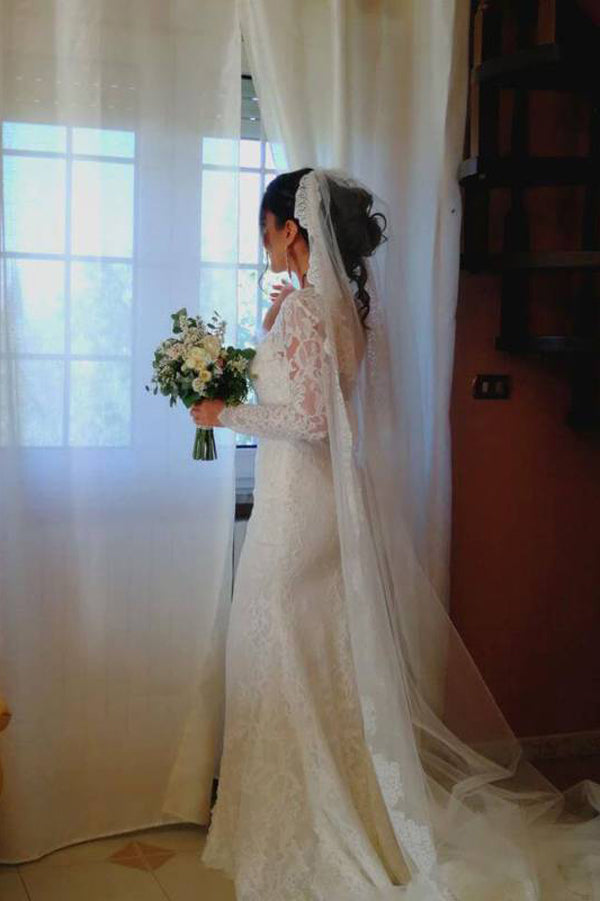 Mermaid Wedding Dress with Slit, Long Sleeve Lace See Through Wedding Dresses, SW173 at simidress.com