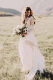 Ivory Long Sleeve Lace Wedding Dresses Appliqued Beach Wedding Dress, SW174