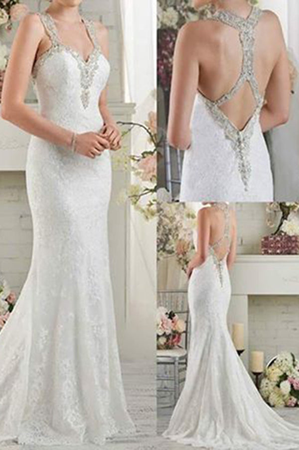 Gorgeous White Lace Mermaid Sweetheart Long Wedding Dress with Sweep Train, SW176