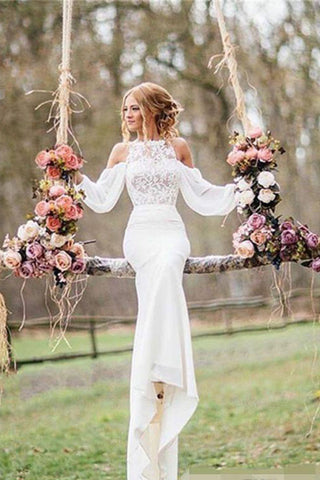 Gorgeous Long Sleeve Mermaid White Lace Long Wedding Dresses Bridal Gown, SW175
