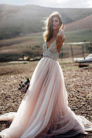 Pink V- Neck Beaded A Line Beach Wedding Dress, Tulle Long Prom Dress, SW177