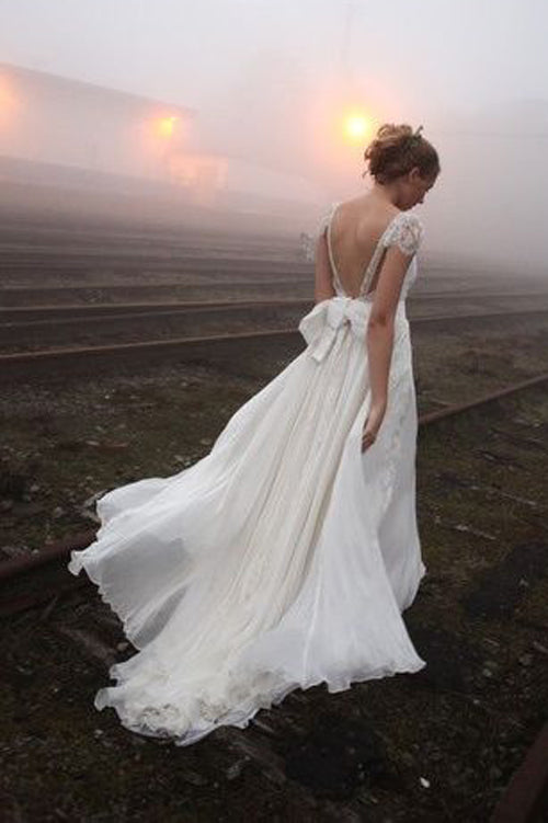 Chiffon Backless V-neck Lace Beaded Wedding Dress with Sweep Train, SW180 at simidress.com