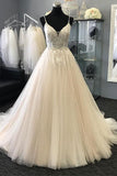 Gorgeous A-line Spaghetti Straps Tulle Lace Long Wedding Dress, SW182