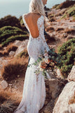 Lace Rustic Long Sleeve Mermaid White Wedding Dresses Bridal Dress, SW184