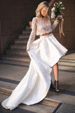 Two Piece High Low Long Sleeve Simple Lace A-line Wedding Dresses, SW186