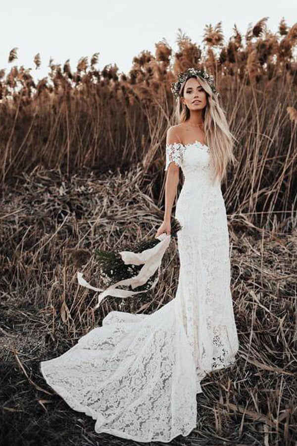 Ivory Lace Rustic Mermaid Illusion Neckline Beach Wedding Dresses, Bridal Dress, SW187