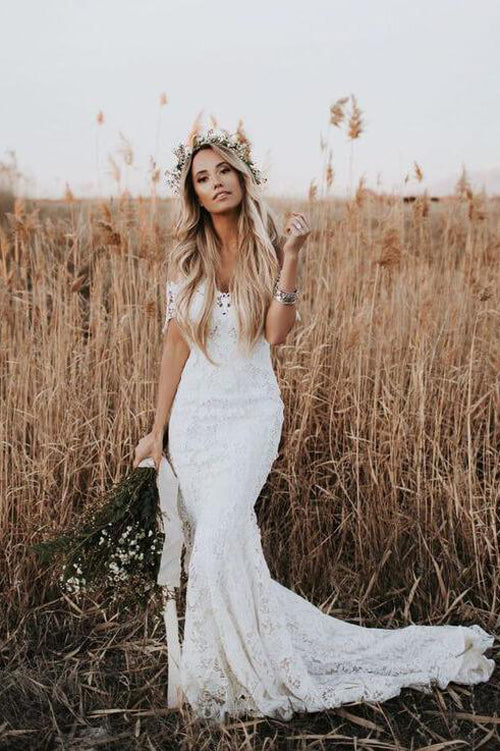 Ivory Lace Rustic Mermaid Illusion Neckline Beach Wedding Dresses, Bridal Dress, SW187|simidress.com