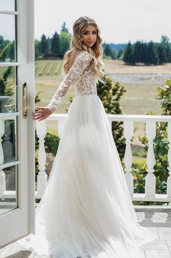 Floral Lace See Through Boho Tulle Long Sleeve Beaded Wedding Dresses, SW188