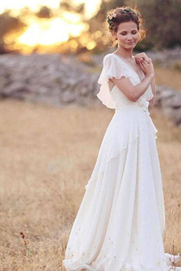 Ivory A-Line Cap Sleeve V-Neck Chiffon Open Back Flower Wedding Dresses, SW190
