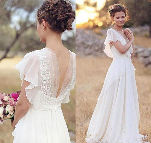 Ivory A-Line Cap Sleeve V-Neck Chiffon Open Back Flower Wedding Dresses, SW190|simidress.com