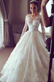 Tulle Lace Scoop Long Sleeve Ball Gown Sheer Back Appliques Wedding Dress, SW191