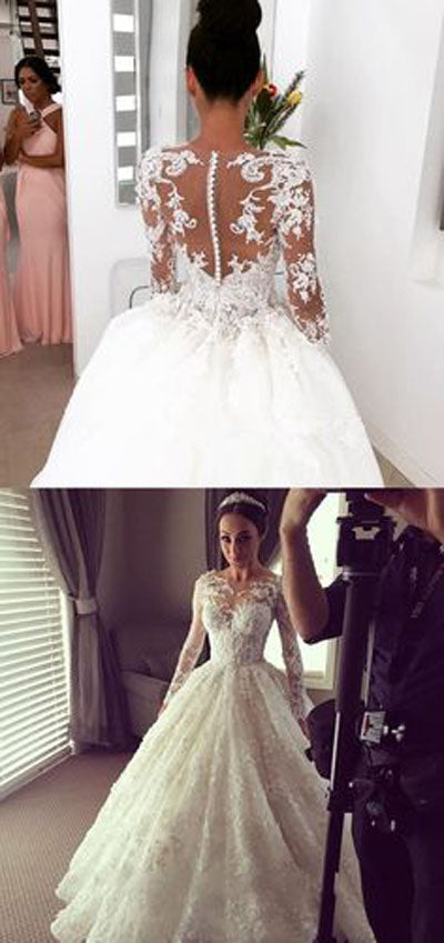 Tulle Lace Scoop Long Sleeve Ball Gown Sheer Back Appliques Wedding Dress, SW191|simidress.com