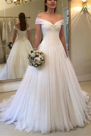 Fabulous Off Shoulder Pleated Tulle V-neck Princess White Wedding Dresses, SW192