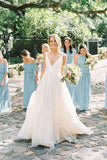 Simple A Line Deep V Neck Long Wedding Dresses, Beach Wedding Dress, SW193