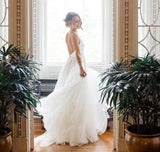 Simple A Line Deep V Neck Long Wedding Dresses, Beach Wedding Dress, SW193|simidress.com