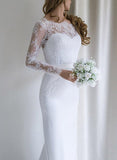 White Mermaid Lace Long Sleeves Wedding Dresses with Sweep Train, SW195
