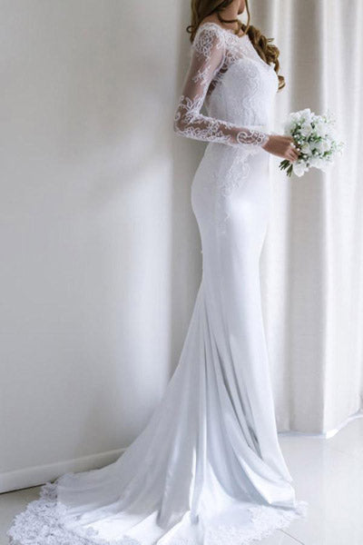 White Mermaid Lace Long Sleeves Wedding Dresses with Sweep Train, SW195|simidress.com