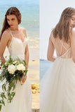 Simple Ivory A Line Tulle Spaghetti Straps Floor Length Beach Wedding Dress, SW197
