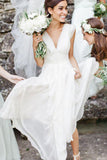 White Simple A-Line V-Neck Chiffon Cap Sleeves Beach Wedding Dresses, SW198