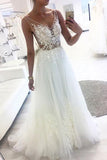 White A-line V-neck Tulle Lace See Through Long Wedding Dresses, SW203
