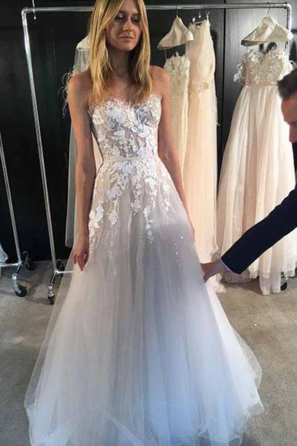 White Tulle Sweetheart A-line See Through Long Wedding Dresses, SW204
