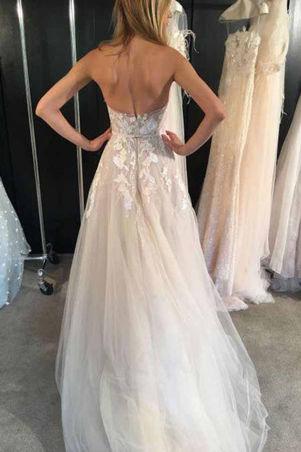 White Tulle Sweetheart A-line See Through Long Wedding Dresses, SW204|simidress.com