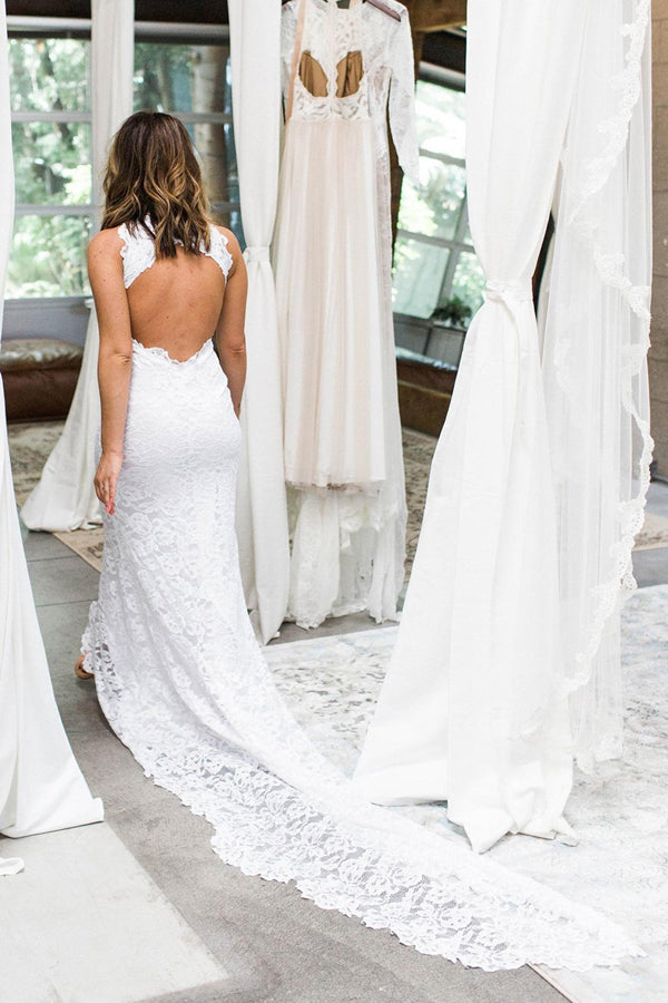Elegant White Lace Halter Mermaid Side Slit Wedding Dress with Sweep Train, SW207|simidress.com