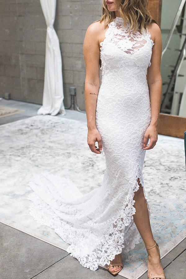 Elegant White Lace Halter Mermaid Side Slit Wedding Dress with Sweep Train, SW207