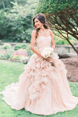 Blush Pink Organza Ruffle Strapless Ball Gown Wedding Dresses, SW209
