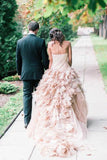 simidress.com offer Blush Pink Organza Ruffle Strapless Ball Gown Wedding Dresses, SW209