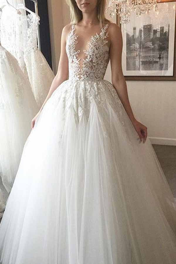 Elegant White A-line Lace Long Tulle Wedding Dress with Appliques, SW210