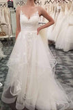 Gorgeous White Tulle A Line Spaghetti Straps V Neck Lace Wedding Dress, SW211