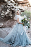 Chic Lace Scoop Short Sleeves Wedding Dresses With Sweep Train Bridal Gown, SW217
