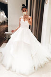 Gorgeous White V Neck Open Back Ball Gown Long Wedding Dresses, SW216