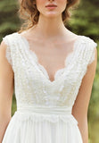 simidress.com offer White Simple V-neck Floor-length Chiffon Lace Wedding Dresses Bridal Dress, SW218