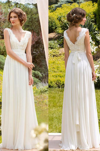 d53b45498b White Simple V-neck Floor-length Chiffon Lace Wedding Dresses Bridal Dress,  SW218