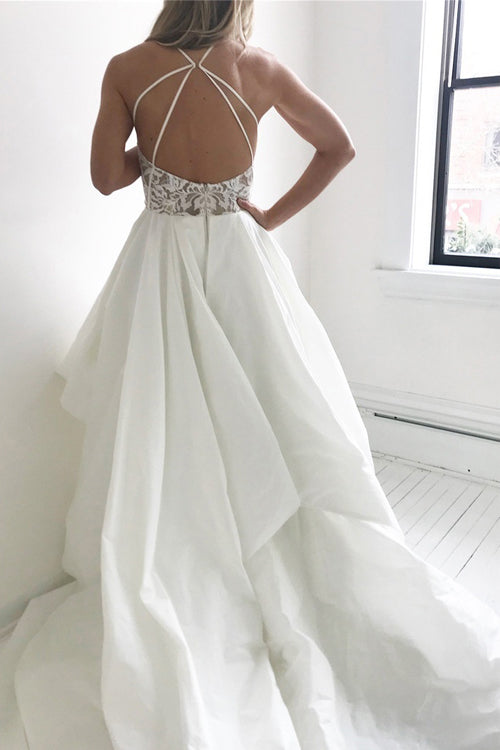 simidress.com offer Elegant Ivory Lace Top Straps Long Wedding Dresses with Sweep Train, SW219