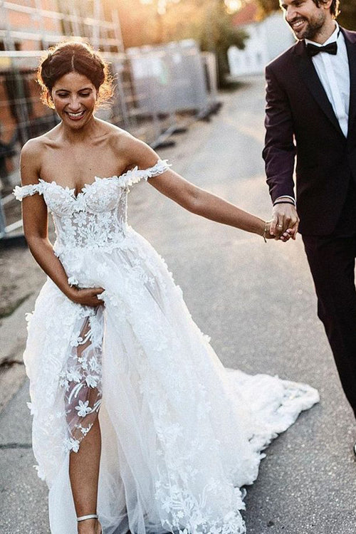 simidress.com offer White Rustic Boho Off the Shoulder Lace Beach Wedding Dresses Bridal Dress, SW222
