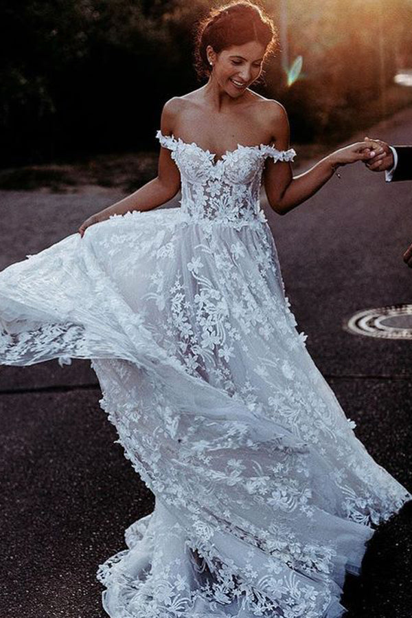 White Rustic Boho Off the Shoulder Lace Beach Wedding Dresses Bridal Dress, SW222