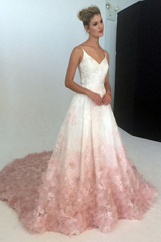 Silk Organza Ball Gown V-Neck Wedding Dresses With Floral Embroidery Applique, SW223