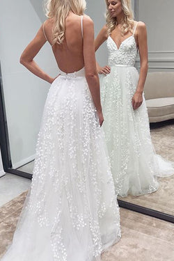 White Lace Backless A-Line Sweetheart Spaghetti Straps Wedding Dresses, SW226