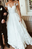 Gorgeous White Lace A-line Scoop Backless Long Wedding Dress with Appliques, SW227