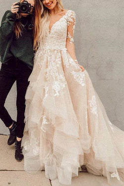 Gorgeous Long Sleeve Lace Ball Gown V-neck Wedding Dress with Train, SW228