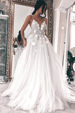 White Tulle A-line V-neck Spaghetti Straps Wedding Dresses with Appliques, SW229