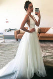 White Tulle A-line V-neck Straps Sleeveless Wedding Dresses with Train, SW230